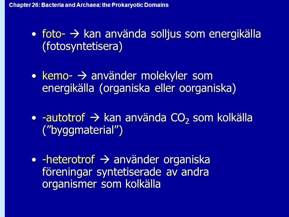 Chapter 26: Bacteria and Archaea: the Prokaryotic Domains foto-  kan använda solljus som energikälla (fotosyntetisera)foto-  kan använda solljus som