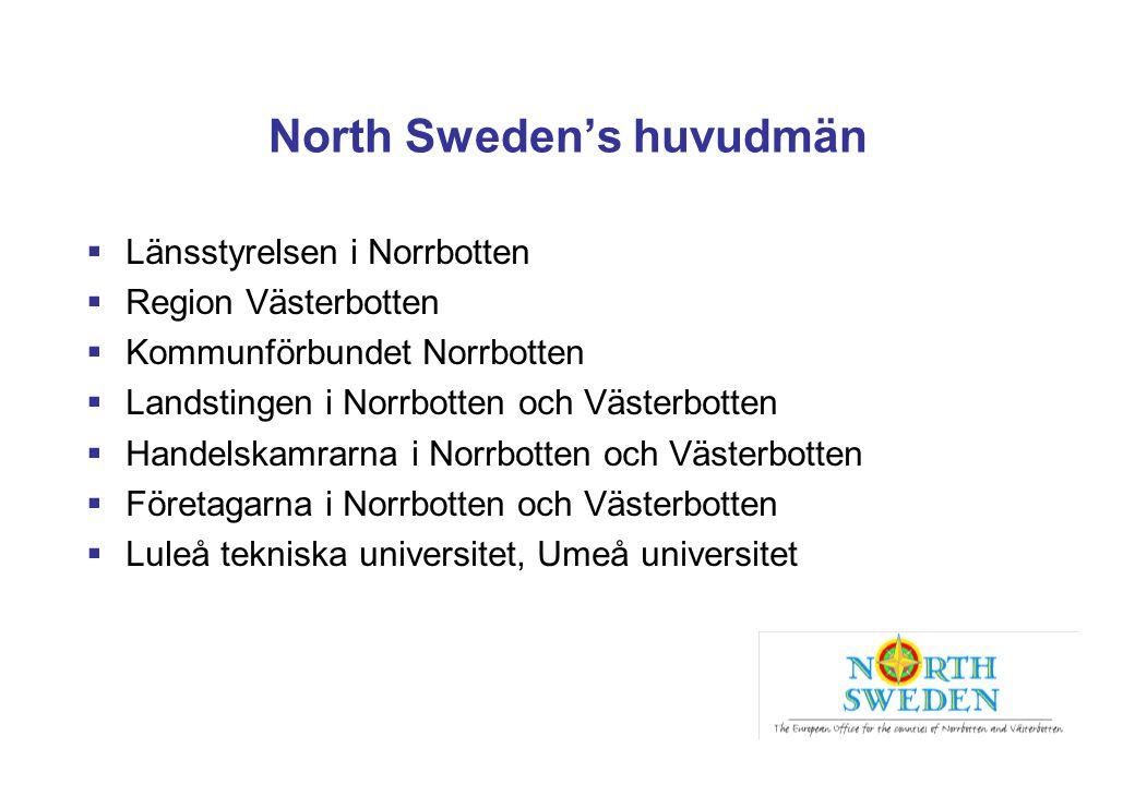 North Sweden's huvudmän  Länsstyrelsen i Norrbotten  Region Västerbotten  Kommunförbundet Norrbotten  Landstingen i Norrbotten och Västerbotten 