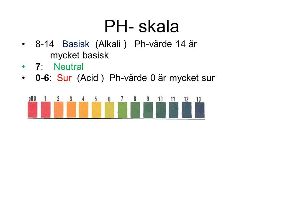 PH- skala 8-14 Basisk (Alkali ) Ph-värde 14 är mycket basisk 7: Neutral 0-6: Sur (Acid ) Ph-värde 0 är mycket sur