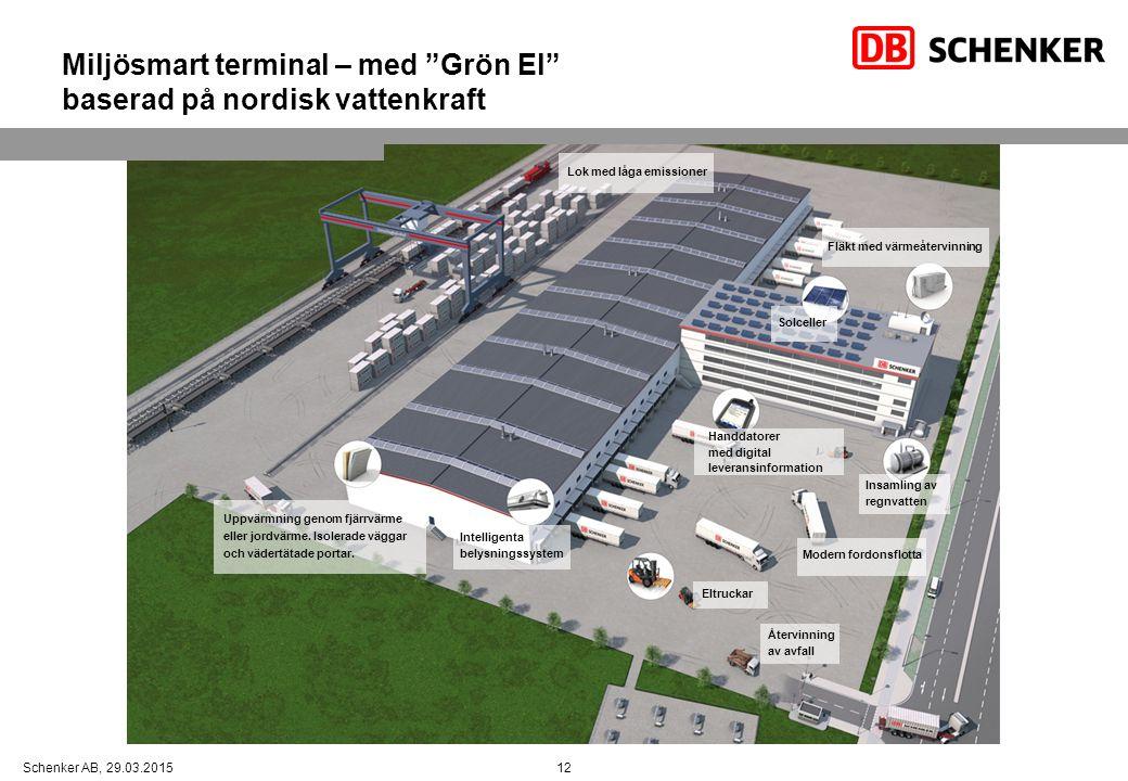 """12Schenker AB, 29.03.2015 Miljösmart terminal – med """"Grön El"""" baserad på nordisk vattenkraft Uppvärmning genom fjärrvärme eller jordvärme. Isolerade v"""