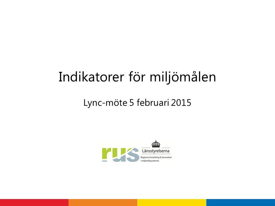 Lync-möte 5 februari 2015 Indikatorer för miljömålen
