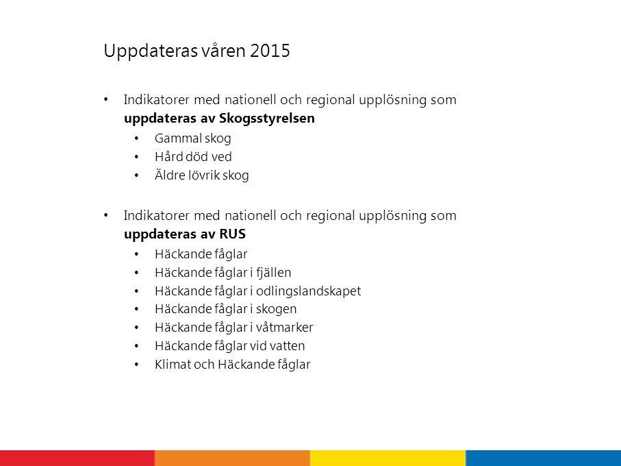 Uppdateras våren 2015 Indikatorer med nationell och regional upplösning som uppdateras av Skogsstyrelsen Gammal skog Hård död ved Äldre lövrik skog In