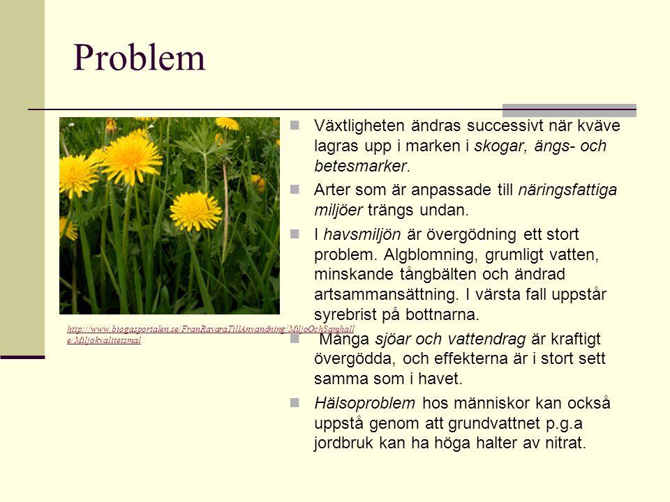 Problem Växtligheten ändras successivt när kväve lagras upp i marken i skogar, ängs- och betesmarker. Arter som är anpassade till näringsfattiga miljö