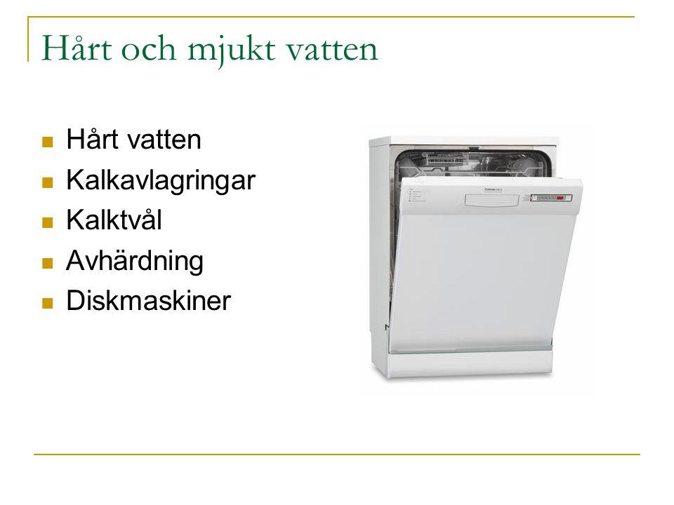Hårt och mjukt vatten Hårt vatten Kalkavlagringar Kalktvål Avhärdning Diskmaskiner