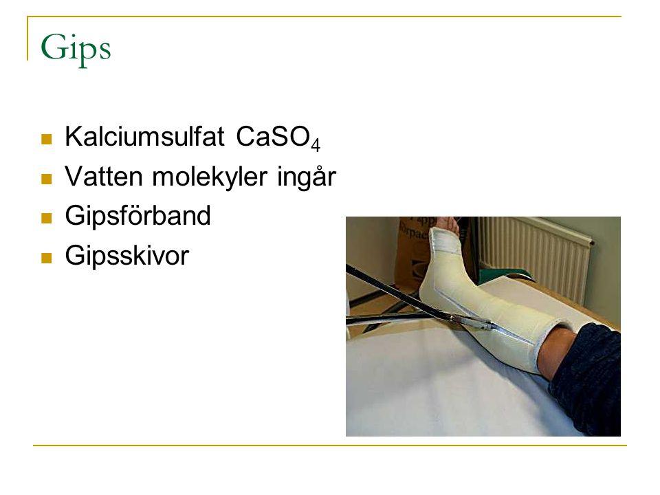 Gips Kalciumsulfat CaSO 4 Vatten molekyler ingår Gipsförband Gipsskivor