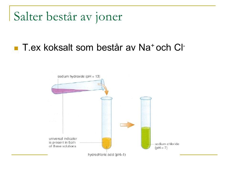 Saltframställning En bas och en syra-neutralisation Metall reagerar med en syra Metalloxid reagerar med en syra