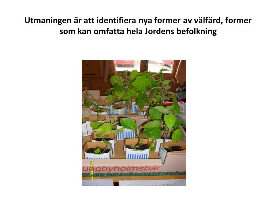 Utmaningen är att identifiera nya former av välfärd, former som kan omfatta hela Jordens befolkning