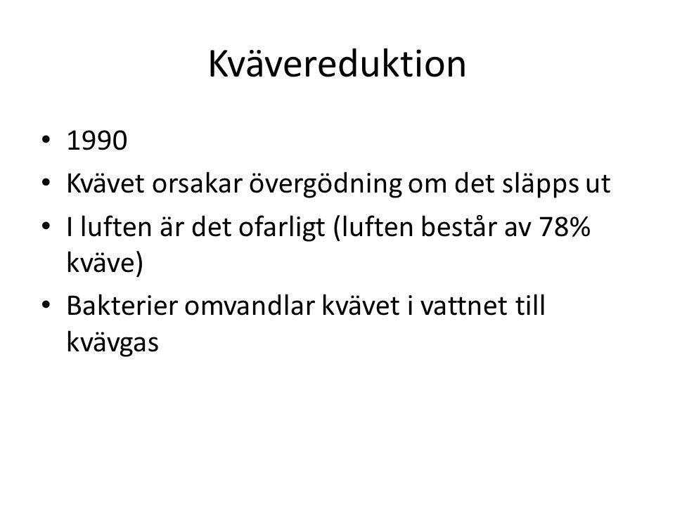 Kvävereduktion 1990 Kvävet orsakar övergödning om det släpps ut I luften är det ofarligt (luften består av 78% kväve) Bakterier omvandlar kvävet i vat