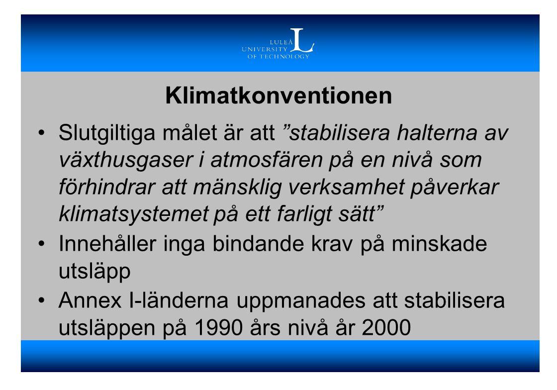Kyotoprotokollet Ett protokoll med lagligt bindande utsläppsmål för de industrialiserade länderna skrevs under 1997 Innebär att I-länderna skall åta sig att minska utsläppen av växthusgaser med 5,2% år 2008-2012 från 1990 års nivå Två villkor krävs dock för att protokollet skall ratificeras