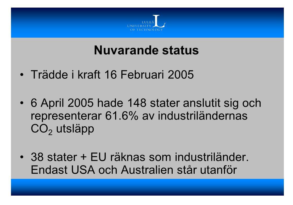 Nuvarande status Trädde i kraft 16 Februari 2005 6 April 2005 hade 148 stater anslutit sig och representerar 61.6% av industriländernas CO 2 utsläpp 38 stater + EU räknas som industriländer.