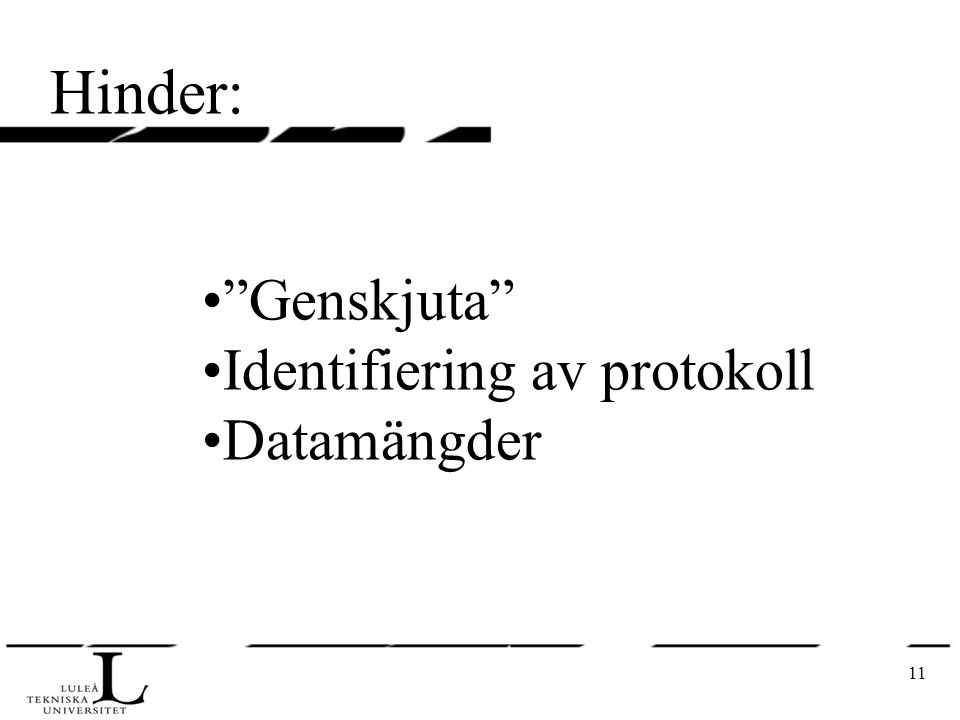 11 Hinder: Genskjuta Identifiering av protokoll Datamängder