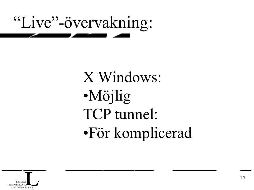 """15 """"Live""""-övervakning: X Windows: Möjlig TCP tunnel: För komplicerad"""