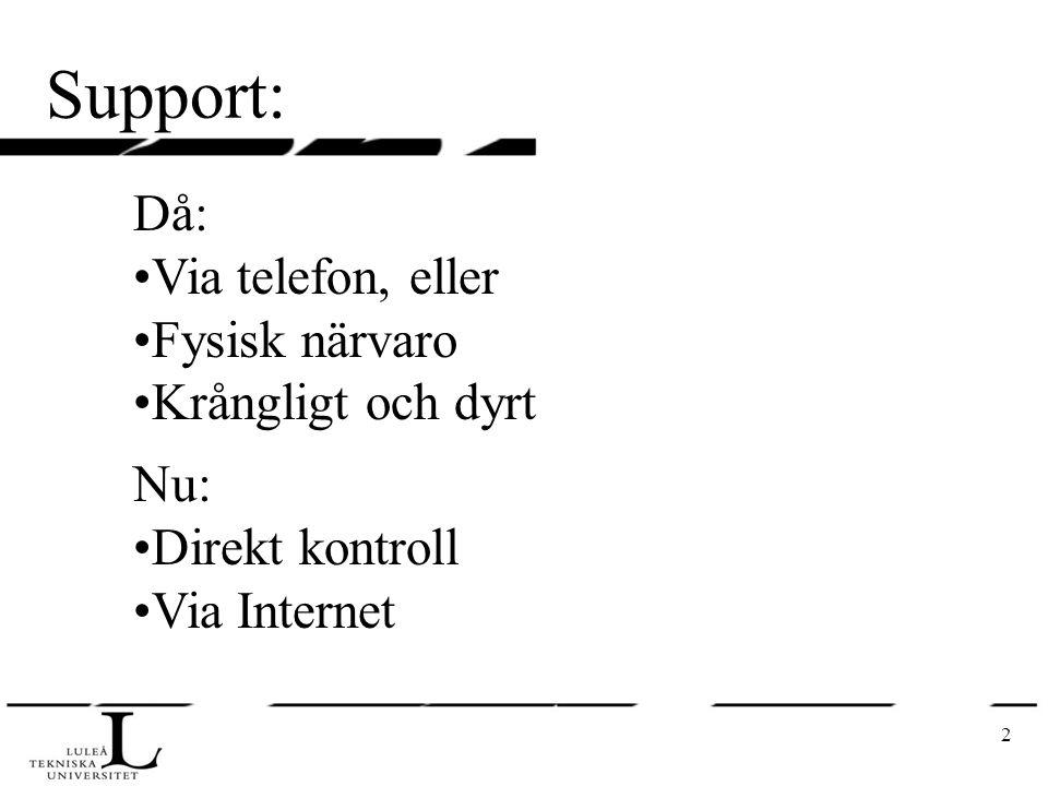 2 Support: Då: Via telefon, eller Fysisk närvaro Krångligt och dyrt Nu: Direkt kontroll Via Internet