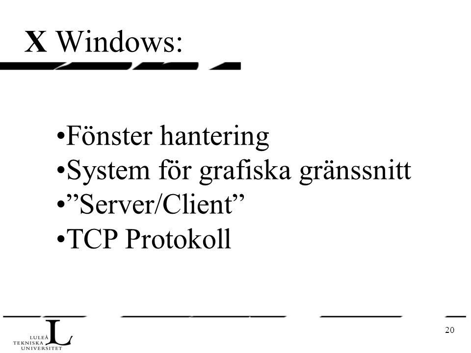 """20 X Windows: Fönster hantering System för grafiska gränssnitt """"Server/Client"""" TCP Protokoll"""