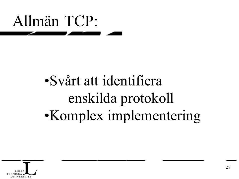 28 Allmän TCP: Svårt att identifiera enskilda protokoll Komplex implementering