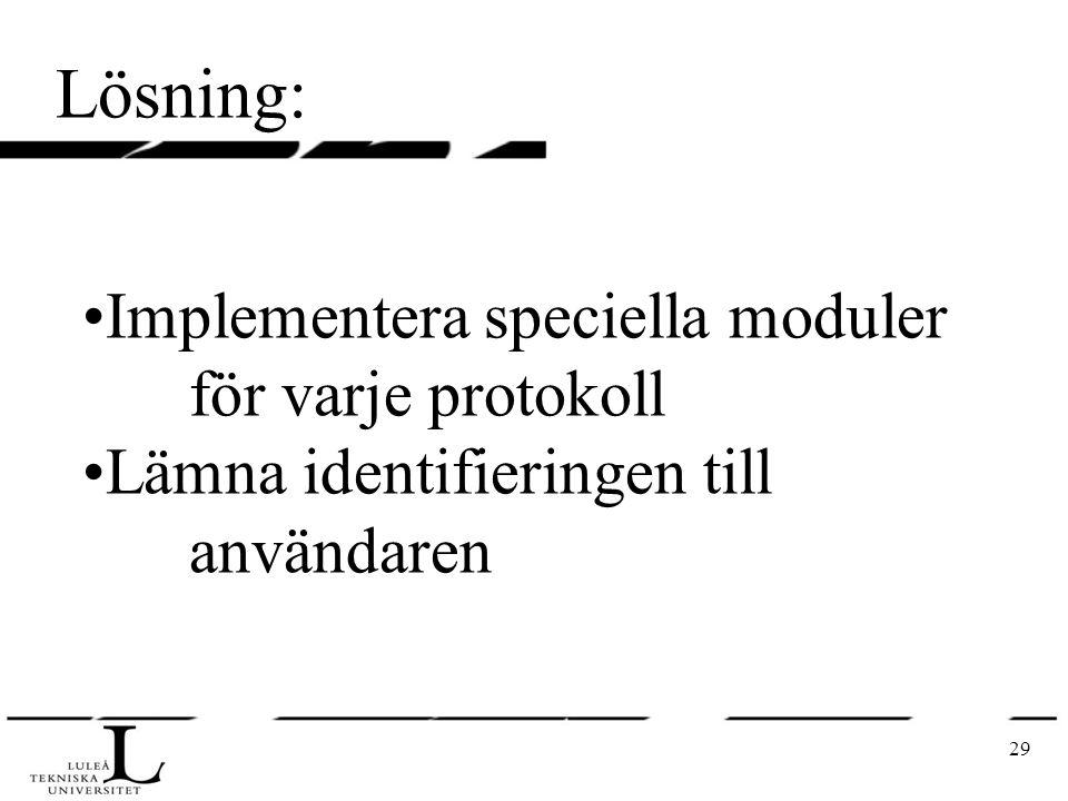 29 Lösning: Implementera speciella moduler för varje protokoll Lämna identifieringen till användaren