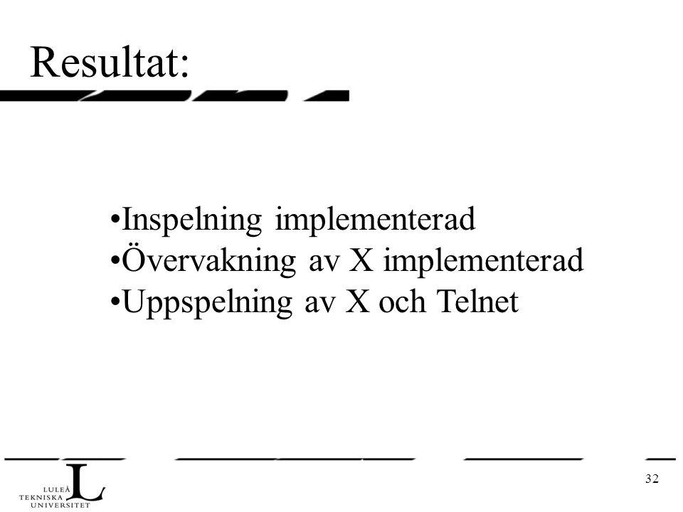 32 Resultat: Inspelning implementerad Övervakning av X implementerad Uppspelning av X och Telnet