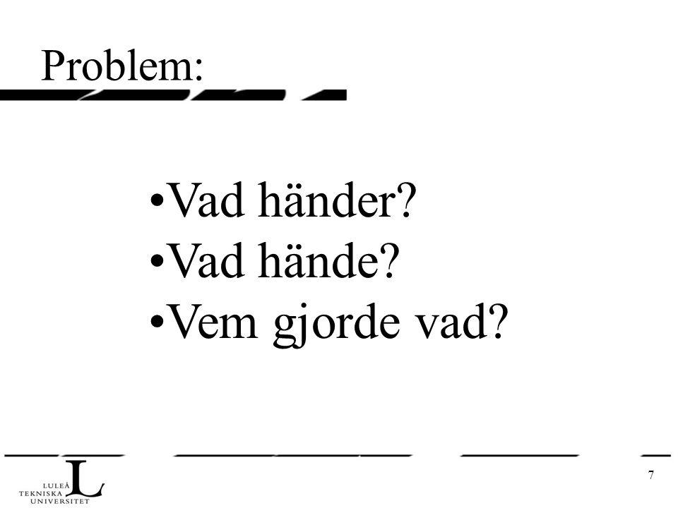 7 Problem: Vad händer? Vad hände? Vem gjorde vad?