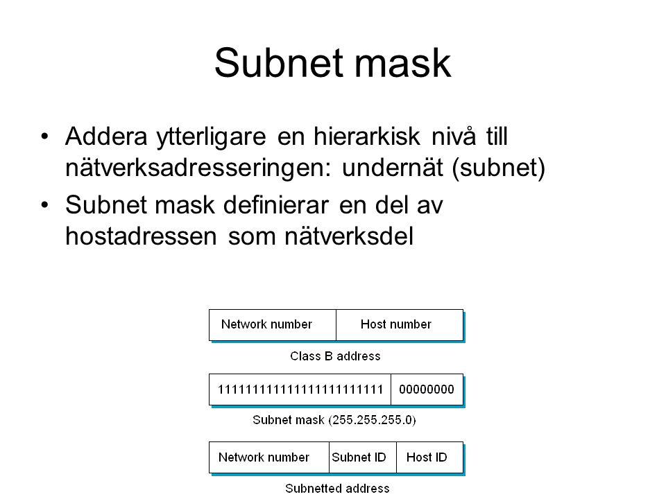 Subnet mask Addera ytterligare en hierarkisk nivå till nätverksadresseringen: undernät (subnet) Subnet mask definierar en del av hostadressen som nätverksdel