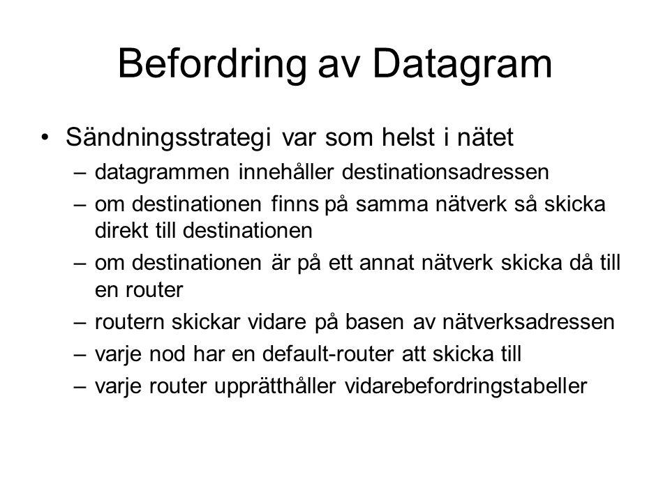 Befordring av Datagram Sändningsstrategi var som helst i nätet –datagrammen innehåller destinationsadressen –om destinationen finns på samma nätverk s