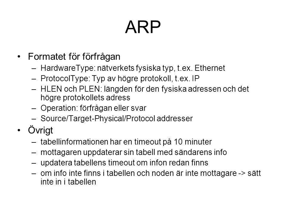 ARP Formatet för förfrågan –HardwareType: nätverkets fysiska typ, t.ex. Ethernet –ProtocolType: Typ av högre protokoll, t.ex. IP –HLEN och PLEN: längd