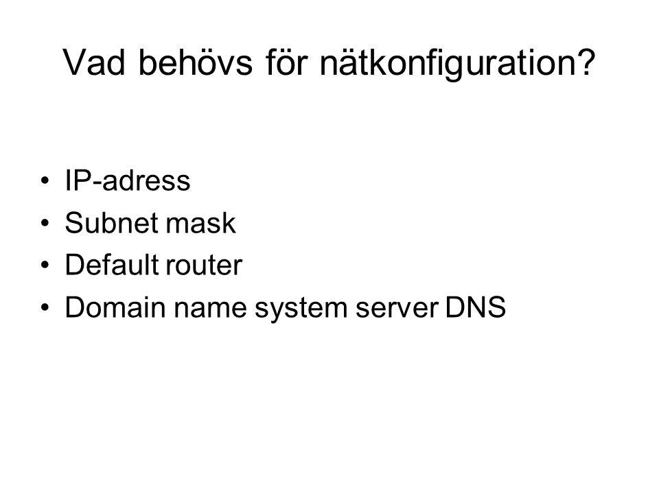 Vad behövs för nätkonfiguration? IP-adress Subnet mask Default router Domain name system server DNS