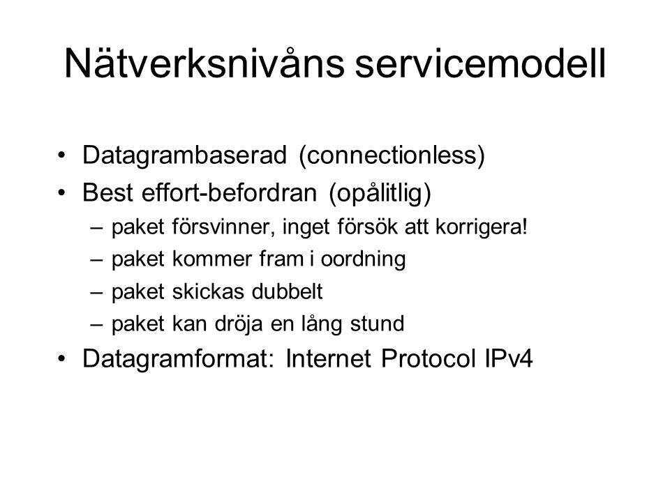 Nätverksnivåns servicemodell Datagrambaserad (connectionless) Best effort-befordran (opålitlig) –paket försvinner, inget försök att korrigera! –paket