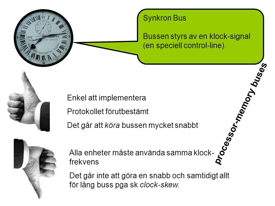 Synkron Bus Bussen styrs av en klock-signal (en speciell control-line).