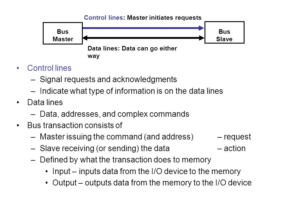 For high-bandwidth devices (like disks) interrupt- driven I/O would consume a lot of processor cycles DMA – the I/O controller has the ability to transfer data directly to/from the memory without involving the processor –The processor initiates the DMA transfer by supplying the I/O device address, the operation to be performed, the memory address destination/source, the number of bytes to transfer –The I/O DMA controller manages the entire transfer (possibly thousand of bytes in length), arbitrating for the bus –When the DMA transfer is complete, the I/O controller interrupts the processor to let it know that the transfer is complete There may be multiple DMA devices in one system –Processor and I/O controllers contend for bus cycles and for memory Direct Memory Access Vill avlasta processorn...