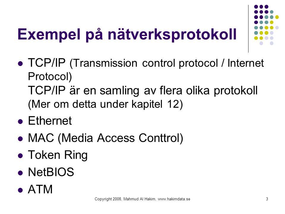 Exempel på nätverksprotokoll TCP/IP (Transmission control protocol / Internet Protocol) TCP/IP är en samling av flera olika protokoll (Mer om detta un