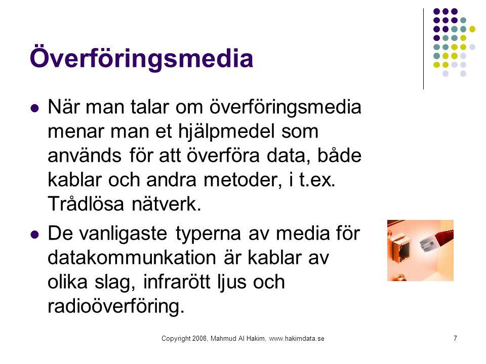 Överföringsmedia När man talar om överföringsmedia menar man et hjälpmedel som används för att överföra data, både kablar och andra metoder, i t.ex.