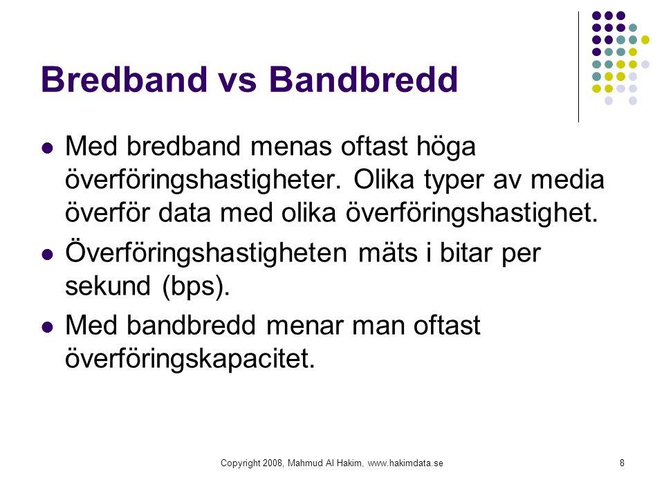 Bredband vs Bandbredd Med bredband menas oftast höga överföringshastigheter. Olika typer av media överför data med olika överföringshastighet. Överför