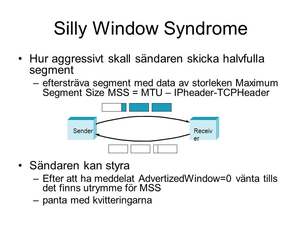 Silly Window Syndrome Hur aggressivt skall sändaren skicka halvfulla segment –eftersträva segment med data av storleken Maximum Segment Size MSS = MTU
