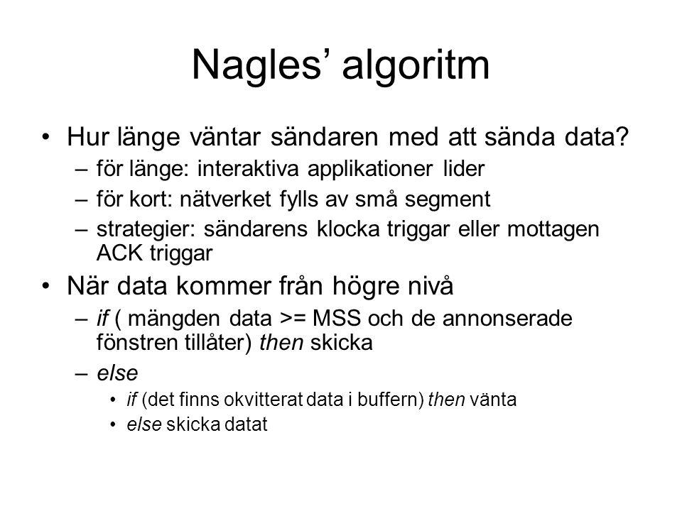 Nagles' algoritm Hur länge väntar sändaren med att sända data? –för länge: interaktiva applikationer lider –för kort: nätverket fylls av små segment –