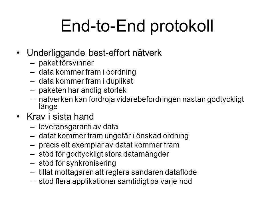 End-to-End protokoll Underliggande best-effort nätverk –paket försvinner –data kommer fram i oordning –data kommer fram i duplikat –paketen har ändlig