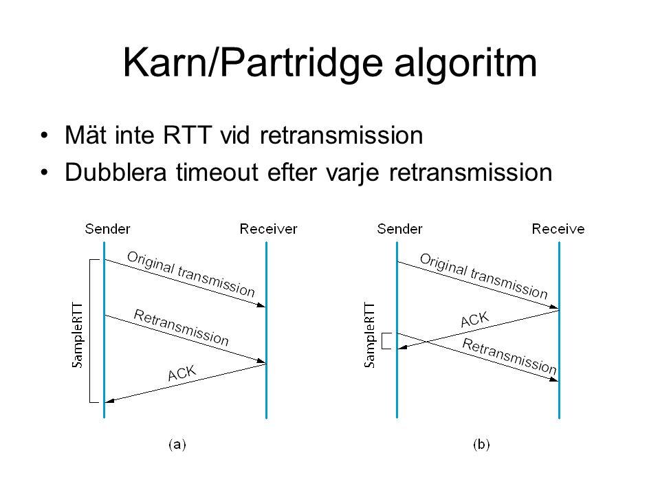 Karn/Partridge algoritm Mät inte RTT vid retransmission Dubblera timeout efter varje retransmission