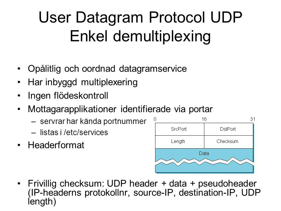 User Datagram Protocol UDP Enkel demultiplexing Opålitlig och oordnad datagramservice Har inbyggd multiplexering Ingen flödeskontroll Mottagarapplikat