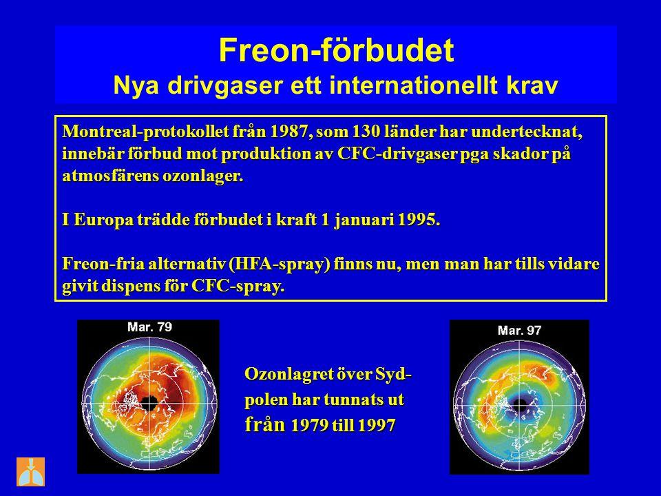 Freon-förbudet Nya drivgaser ett internationellt krav Montreal-protokollet från 1987, som 130 länder har undertecknat, innebär förbud mot produktion a