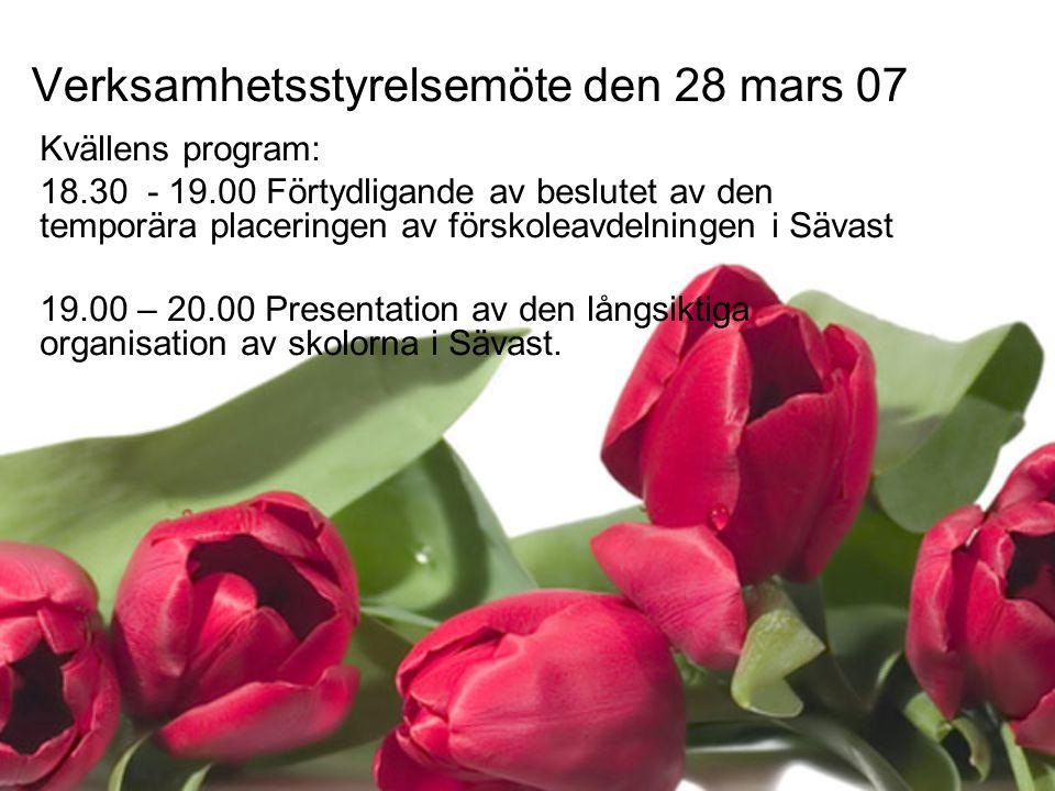 Kvällens program: 18.30 - 19.00 Förtydligande av beslutet av den temporära placeringen av förskoleavdelningen i Sävast 19.00 – 20.00 Presentation av den långsiktiga organisation av skolorna i Sävast.