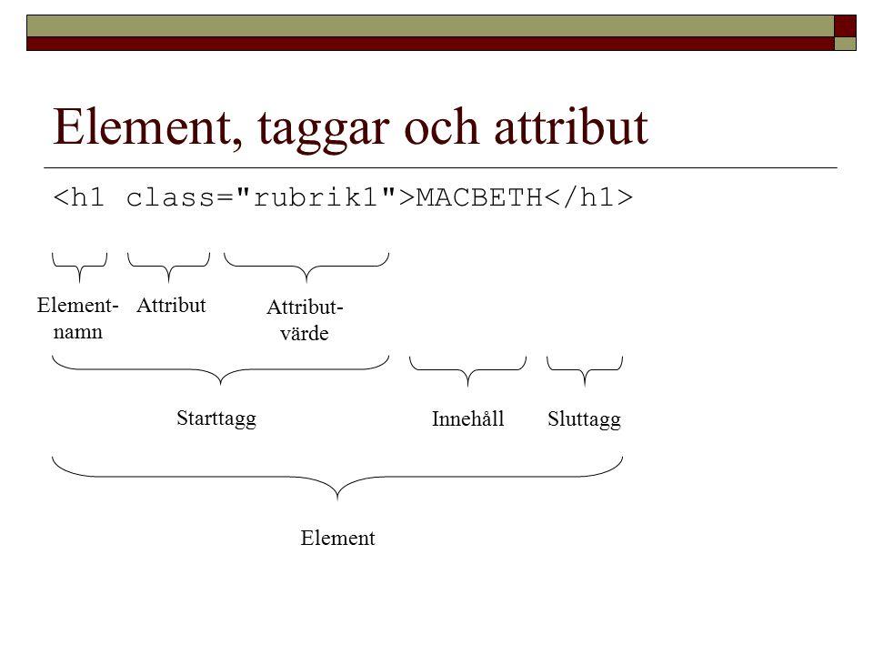 Element, taggar och attribut MACBETH Element Starttagg SluttaggInnehåll Attribut- värde Attribut Element- namn