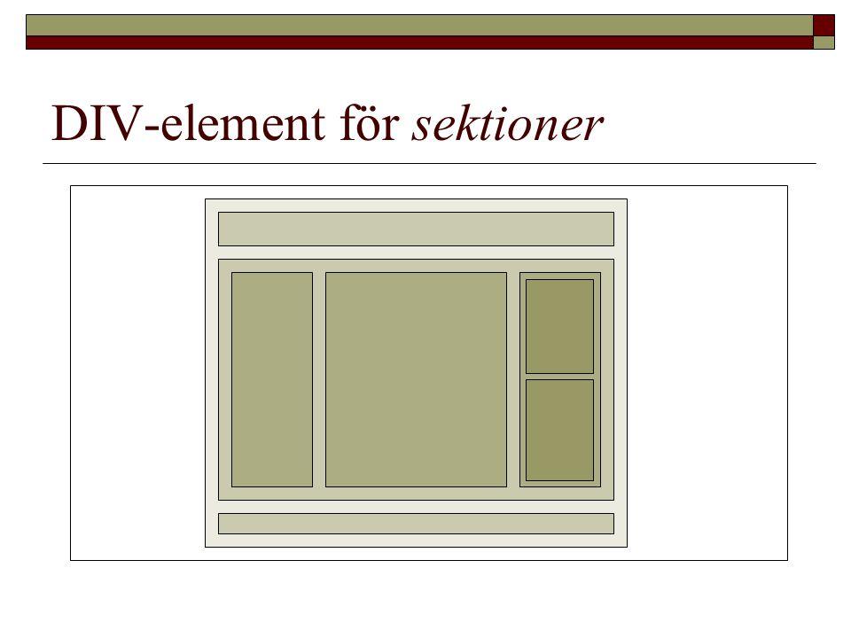 DIV-element för sektioner