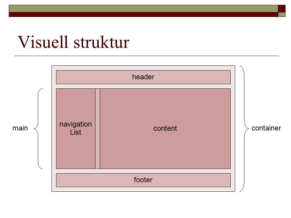Visuell struktur header footer navigation List content maincontainer