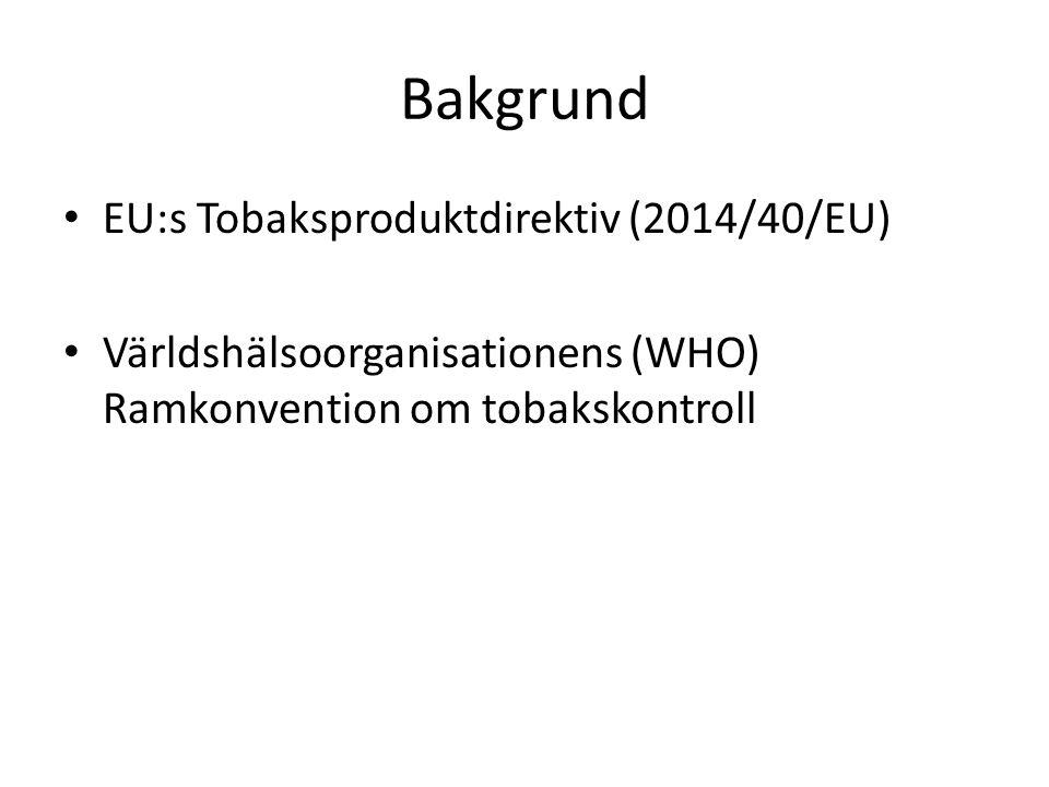 Utredningsuppdraget 1 Nationellt genomförande av Tobaksproduktdirektivet En ändamålsenlig nationell reglering av snus och tuggtobak samt förslag till innehållsreglering i snus Utreda behovet av ett rökförbud av tobaksrelaterade produkter, t.ex.