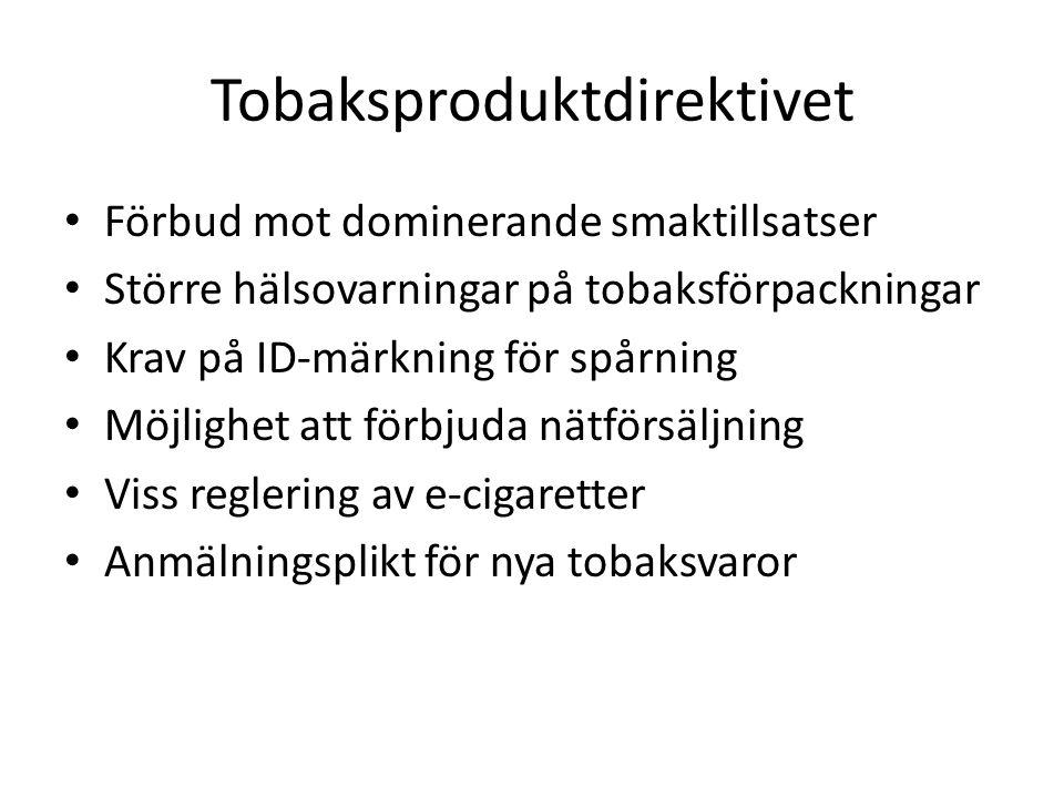 Snus och tuggtobak Tobaksproduktdirektivet reglerar produktpresentationen av snus, men inte innehållet i snus Utredningen ska lämna förslag till reglering av innehållet i snus