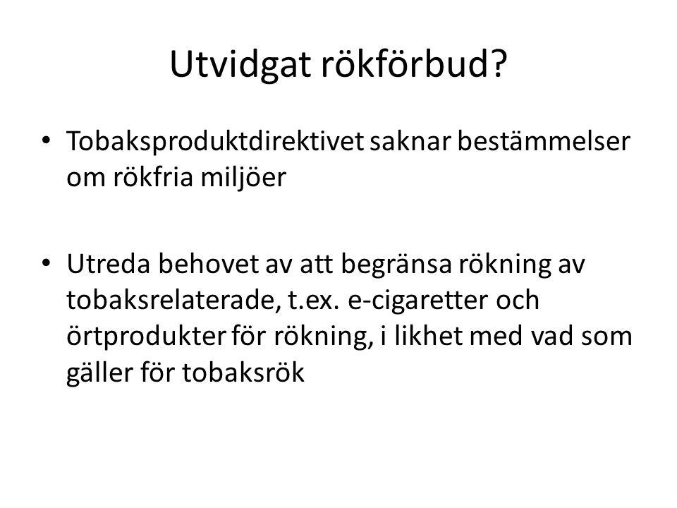 Tillståndsplikt för försäljning av tobak.