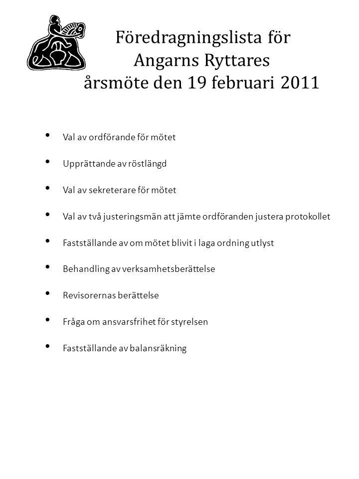 Redogörelse för Angarns Ryttare 2011