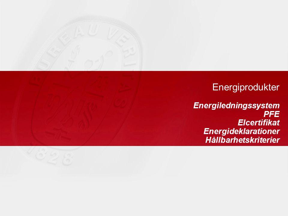 Energiprodukter Energiledningssystem PFE Elcertifikat Energideklarationer Hållbarhetskriterier