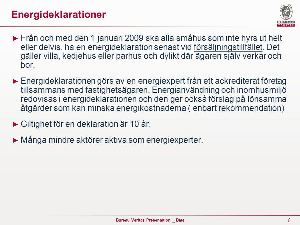 6 Bureau Veritas Presentation _ Date Energideklarationer ► Från och med den 1 januari 2009 ska alla småhus som inte hyrs ut helt eller delvis, ha en energideklaration senast vid försäljningstillfället.