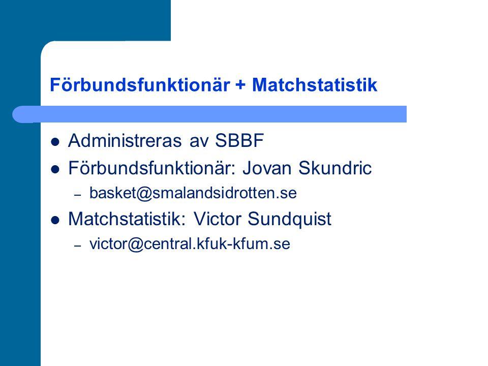 Förbundsfunktionär + Matchstatistik Administreras av SBBF Förbundsfunktionär: Jovan Skundric – basket@smalandsidrotten.se Matchstatistik: Victor Sundq