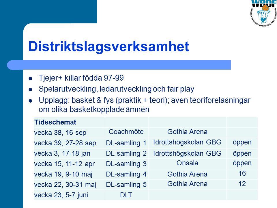 Distriktslagsverksamhet Tjejer+ killar födda 97-99 Spelarutveckling, ledarutveckling och fair play Upplägg: basket & fys (praktik + teori); även teori